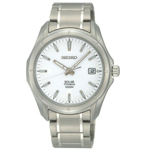 Seiko Solar Powered Titanium White Dial Casual Watch SNE139P1