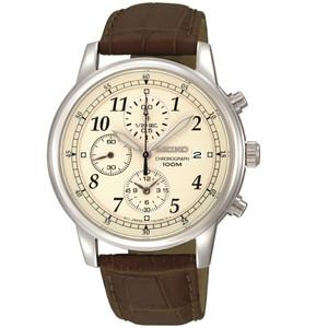Seiko Chronograph White Dial Brown Leather Strap Watch SNDC31P1