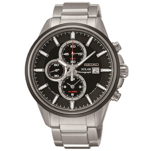 Seiko Solar Chronograph Black Dial Alarm Watch SSC255P1