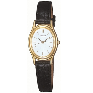 Seiko Ladies Oval Dial Leather Strap Gold Tone Watch SXGA82