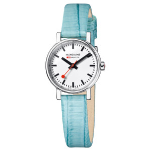 Mondaine Evo Petite Ladies Light Blue Lizard Watch A658.30301.11SBF