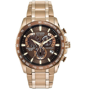 Citizen Mens Eco Drive Gold Radio Controlled Watch AT4106-52X