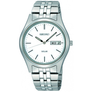 Seiko Mens Solar White Dial Watch SNE031P1
