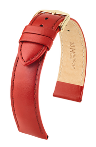 Hirsch Corse Replacement Watch Strap Red Genuine Leather 16mm With Free Connecting Pins