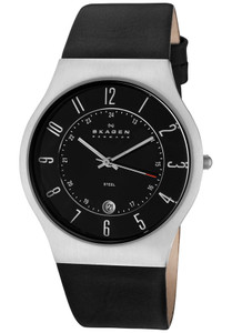 Skagen Men's Black Leather Strap Watch With Date 233XXLSLB