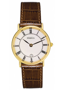 Michel Herbelin Ladies Classic 18ct Gold Plated Sonates Strap Watch 16845/P08GO