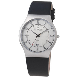 Skagen Mens Black Leather Strap Chrome Dial Watch with Date 233XXLSLC