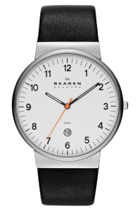 Skagen Men's Classic White Dial Black Leather Strap Watch SKW6024