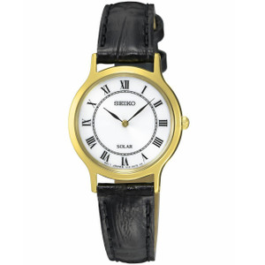 Seiko Ladies Solar Powered Leather Strap Watch SUP304P1