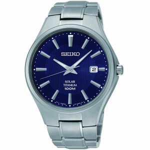 Seiko Men's Titanium Solar Powered Blue Dial Date Watch SNE381P9