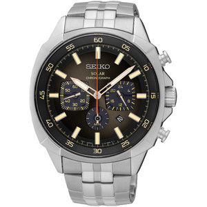 Seiko Mens Chronograph Solar Powered Stainless Steel Watch SSC511P9