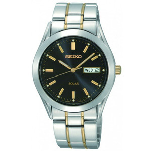 Seiko Men's Solar Powered Day Date Two-tone Watch SNE047P9