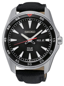 Seiko Mens Solar Powered Black Dial Watch SNE393P2