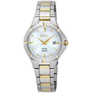 Seiko Ladies Solar Powered Mother Of Pearl Watch SUT294P1