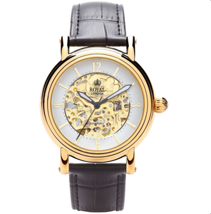 Royal London Mens PVD Gold Plated Westminster Skeleton Automatic Watch 41150-02