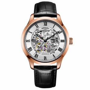 Rotary Automatic Skeleton Greenwich Collection Rose Gold Brown Strap Watch GS02942/01