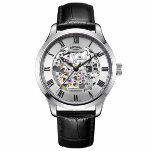 Rotary Automatic Skeleton Watch Greenwich Collection Silver GS02940/06