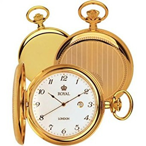 Royal London Full Hunter Gold Pocket Watch With Free Engraving 90000-02