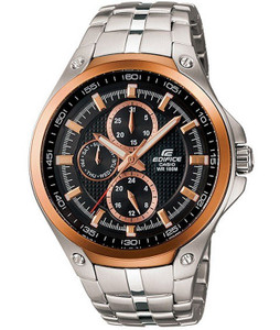 Edifice Steel and Rose Gold Chronograph Watch EF-326D-1AVUEF