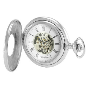 Woodford Sterling Silver Skeleton Pocket Watch With Free Sterling Silver Chain 1095