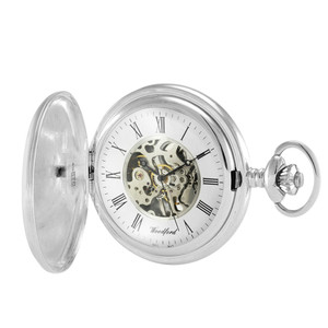 Woodford Skeleton Pocket Watch For Men Sterling Silver With Chain 1096