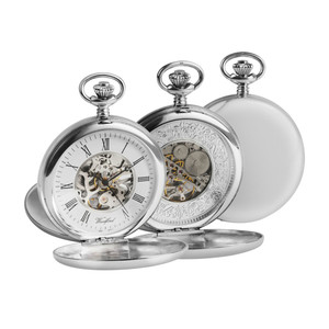 Woodford Twin Lid Hunter Pocket Watch For Men Sterling Silver With Chain 1097