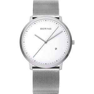 Bering Men's Classic White Dial Silver Mesh Watch 11139-004