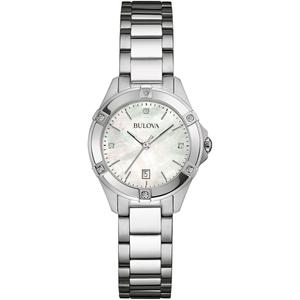 Bulova Ladies Silver Diamond Watch 96W205