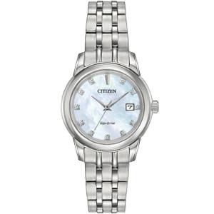Citizen Ladies Mother Of Pearl Eco Drive Diamond Watch EW2390-50D