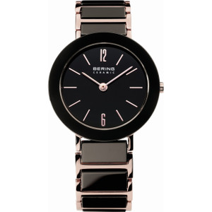Bering Black Rose Gold Ceramic Ladies Watch 11435-746
