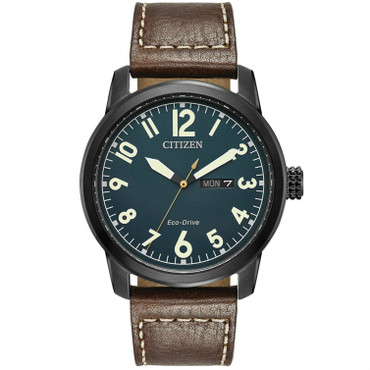 Citizen Mens Eco Drive Leather Strap Watch BM8478-01L