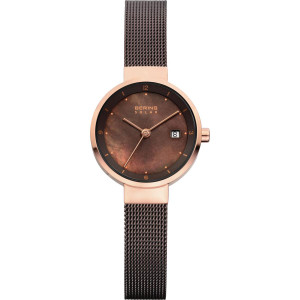 Bering Ladies Brown Mesh Solar Powered Watch 14426-265