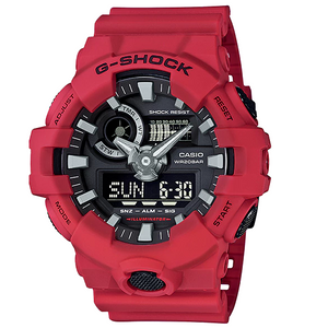 G-Shock Red Analogue Digital World Time and Chronograph Watch GA-700-4AER