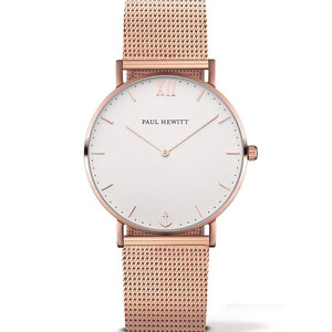 Paul Hewitt Sailor Line Unisex White Dial And Rose Gold Bracelet Watch PH-SA-R-ST-W-4M