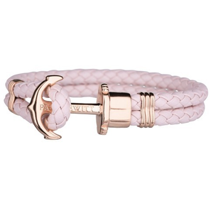 Paul Hewitt Phrep Unisex Rose Gold Anchor and Pink Robust Leather Bracelet PH-PH-L-R-PR-M