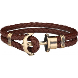 Paul Hewitt Phrep Unisex Brass Anchor and Brown Robust Leather Bracelet PH-PH-L-M-BR-L