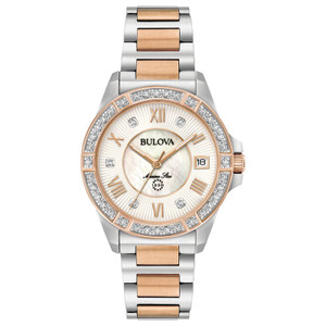 Bulova Ladies Marine Star 26 Diamonds Two-tone Watch 98R234