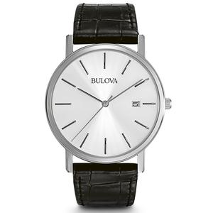 Bulova Men's Black Leather Dress Watch 96B104