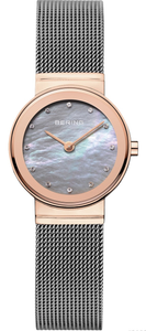 Bering Ladies Classic Rose Gold Watch With Swarvoski Crystal Dial 10126-369