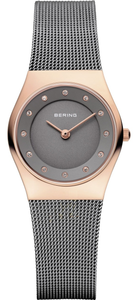 Bering Ladies Rose Gold Mesh Watch With Swarovski Crystal Dial 11927-369