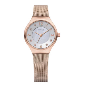 Bering Ladies Solar Powered Swarovski Crystal Rose Gold Watch 14427-366