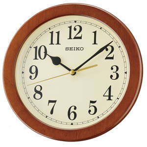 Seiko Wood Effect Round Quartz Clock QXA686Z