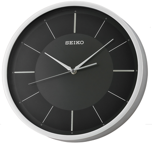 Seiko Black and Silver Round Quartz Clock QXA688A