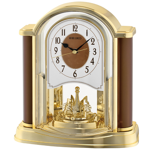 Seiko Gold Rotating Pendulum Mantle Clock QXN228B