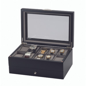 Mele And Co Watch Box For 10 Watches With Removable Drawer Black and Grey 447