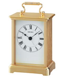 Seiko White Face in Gold Aluminium Clock QHE093G
