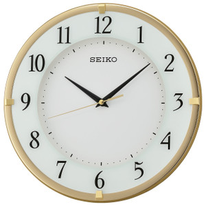 Seiko Wall Clock With Arabic Dial With White Face Wood And Gold Wall Clock QXA658G