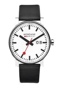 Mondaine Evo Big Date Gents Black Leather Strap Watch A627.30303.11SBB