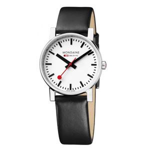 Mondaine Evo Gents Black Leather Strap Medium Size Watch A658.30300.11SBB
