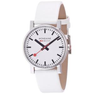 Mondaine Evo Gents White Leather Strap Medium Size Watch A658.30300.11SBN